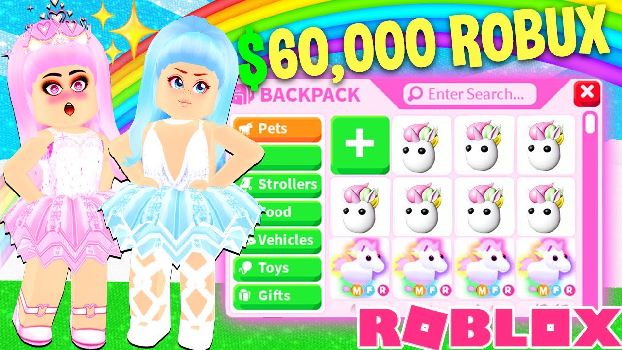 We Spent 60 000 Robux To Get A Legendary Unicorn In Adopt Me