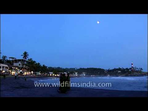 Night view of Kollam Beach, Kerala