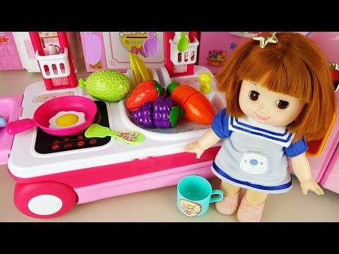 Baby doll kitchen carrier bag and Baby Doli cooking food toy