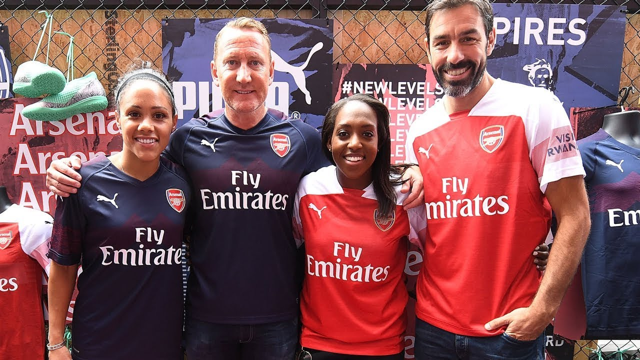 41d1ead9a Behind the scenes at Arsenal s 2018 19 PUMA away kit launch in Leicester  Square