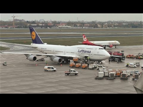 Lufthansa Boeing 747-430 D-ABVW Landing & Takeoff at Berlin Tegel Airport