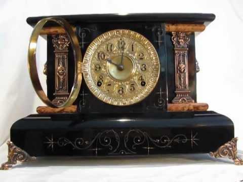 RARE 1895 SETH THOMAS ANTIQUE ADAMANTINE BLACK MANTEL CLOCK