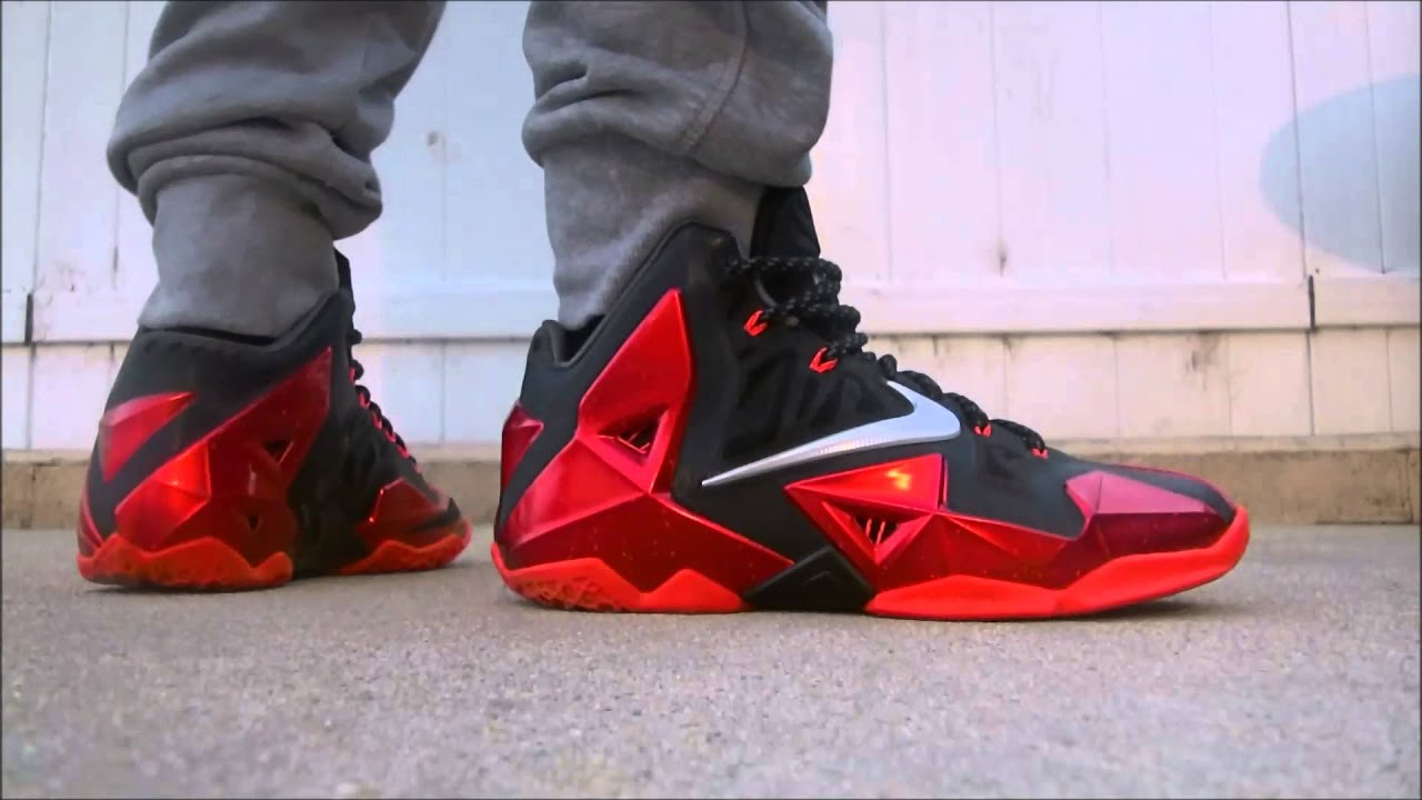 05e69b511f03 ... aliexpress lebron 11 miami heat away bred on feet foot youtube 38d77  f9079