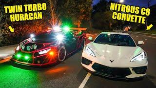 NITROUS C8 CORVETTE VS TWIN TURBO LAMBORGHINI HURACAN ft. Alex Choi