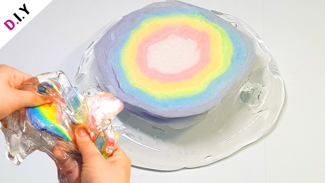 SLIME) 무지개솜사탕에 젤몬을 넣으면 녹을까?🌈 | 빅슈가롤리 슬라임 | Slime + Rainbow Cotton Candy  スライム+虹綿菓子