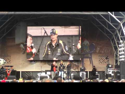 Colin Edwards on stage at Silverstone 2011