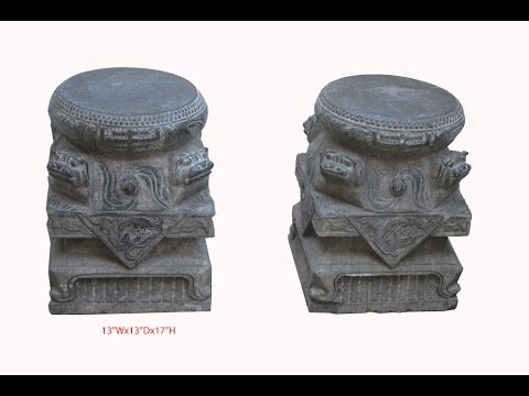 Pair Huge Chinese Antique Foo Dog Drum Carving Stone Base Garden Stool Table WK2559