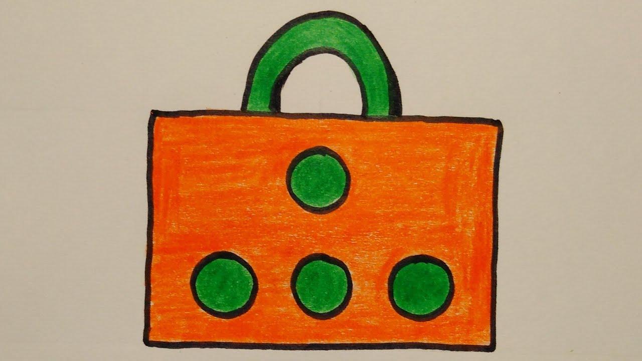 สอนวาดรูปกระเป๋าช็อปปิ้ง   Drawing a Shoping bag Easy for beginer   My Sky Channel