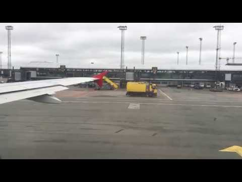 Take-off Airbus 320 from Copenhagen to Vienna Austrian Airlines