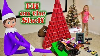 Purple & Pink Elf on the Shelf - Christmas Tree of Red Cups! Day 8