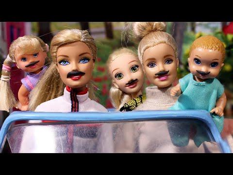 Девушки с усами и ребенок / Играем в куклы Мама Барби