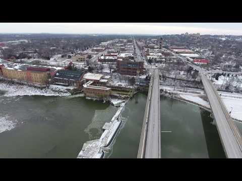 Downtown Lawrence, KS. Bridge Flyover