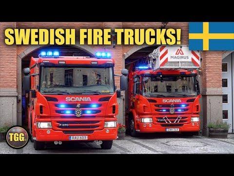 [Stockholm] Fire Engine, Ladder & Utility Car Responding | Östermalm Fire Station