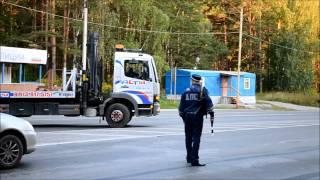 Уникальная для Новосибирска эвакуация лимузина