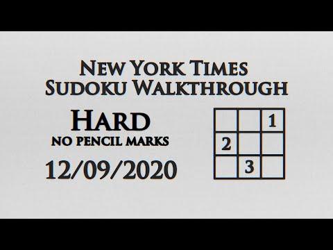New York Times Hard Sudoku No Pencil Markings - 12/09/2020