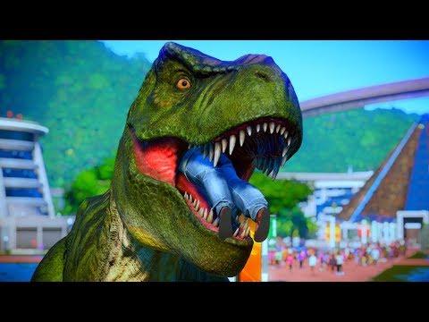 T Rex Vs Spinosaurus Breakout & Fight - Jurassic World Evolution Dinosaurs Fighting