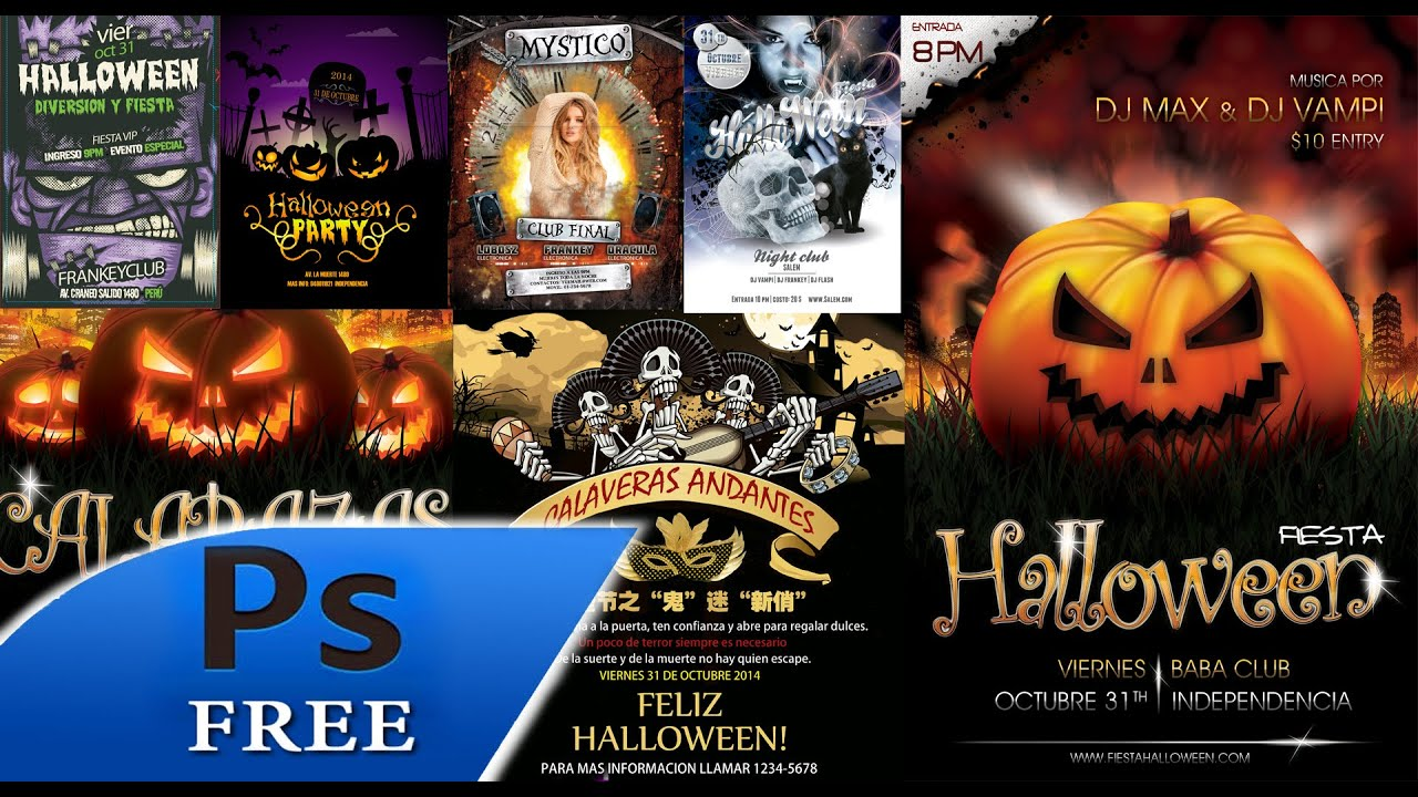 20 PSD Halloween plantillas para photoshop - YouTube