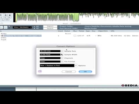 Convert audio files in Cubase using the Pool