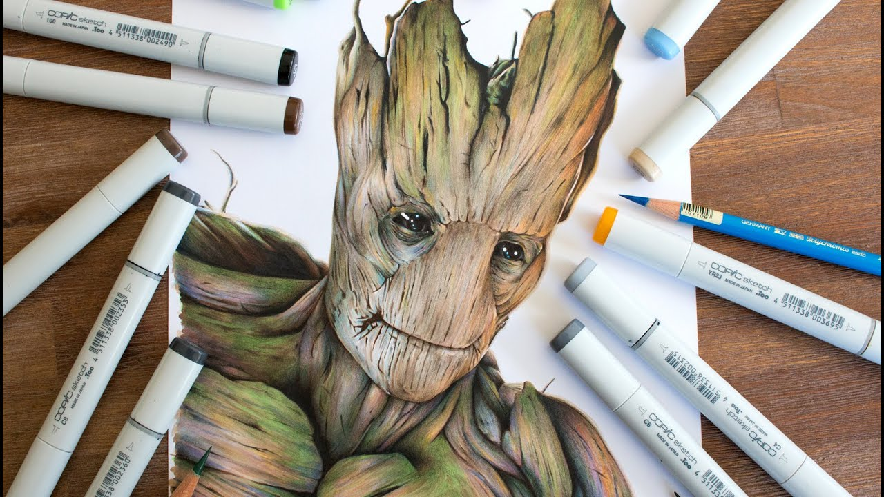 Drawing Groot Guardians Of The Galaxy Youtube