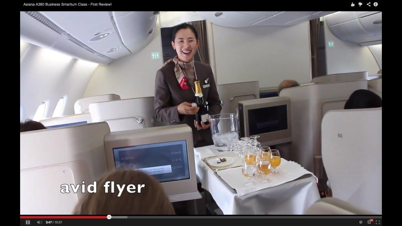 ASIANA A380 Business Smartium Class First Review YouTube