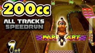 Mario Kart Wii - 200cc All 32 Tracks Gameplay (SPEEDRUN?!)