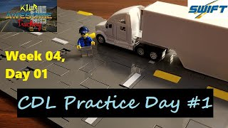 CDL Practice Day #1: Bacĸing Skills || Swift Academy || KILR Awesome Trucking w04d01