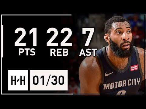 Andre Drummond Full Highlights Pistons vs Cavaliers (2018.01.30) - 21 Pts, 22 Reb, 7 Ast, 3 Blks