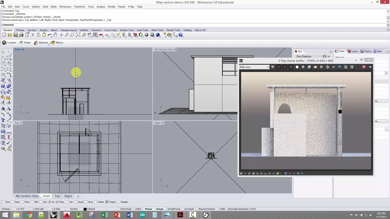 ARCH 201 - VRay section daylight renderings in Rhino (VRay Clipper /  Clipping Plane)