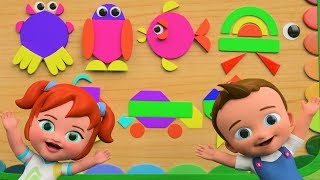 Wood Shapes Pattern Blocks Toy Set - Learning Sea Animals Names for Children Kids with Little Babies