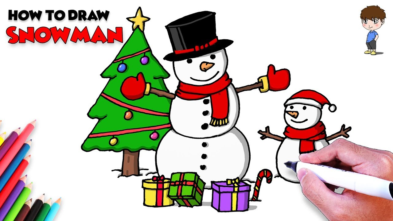 How to Draw Snowman & Christmas Tree Coloring Pages for ...