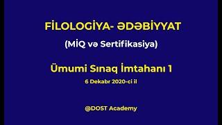 MİQ və Sertifikasiya  Azərbaycan dili və ədəbiyyat müəllimliyi. Ədəbiyyat fənni. 06.12.2020