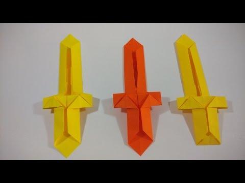 Como hacer una espada de origami muy facil