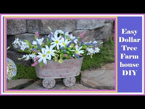 Affordable Easy Farmhouse Wagon / Wheelbarrow Dollar Tree DIY