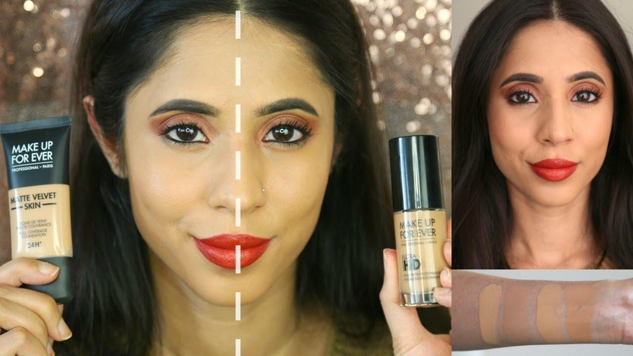 Make Up For Ever Matte Velvet Foundation vs Ultra HD Foundation Y415 |Review & 7-hour wear test