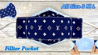 DIY Face Mask 2 TONE All Size S M L with Filter POCKET Make it Easy Face Mask Sewing Tutorial