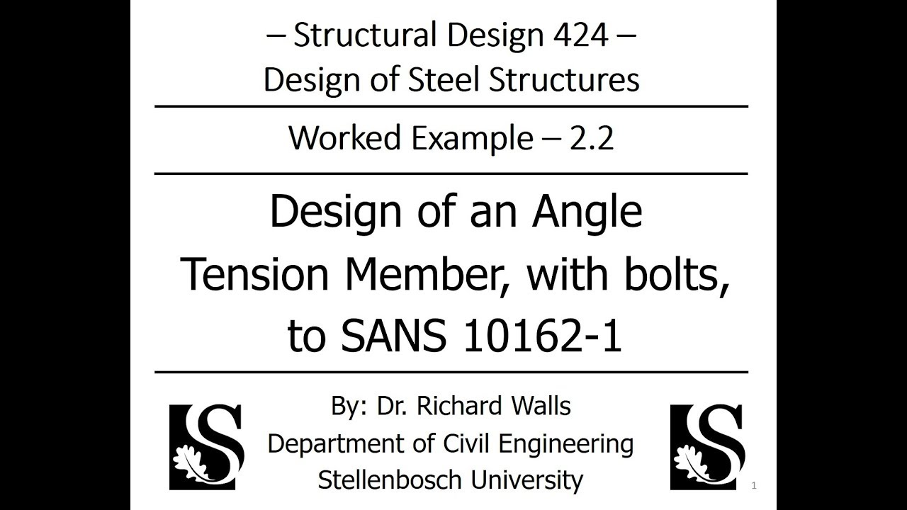 Steel 21 design tension member ( example: 2 angles back to back.