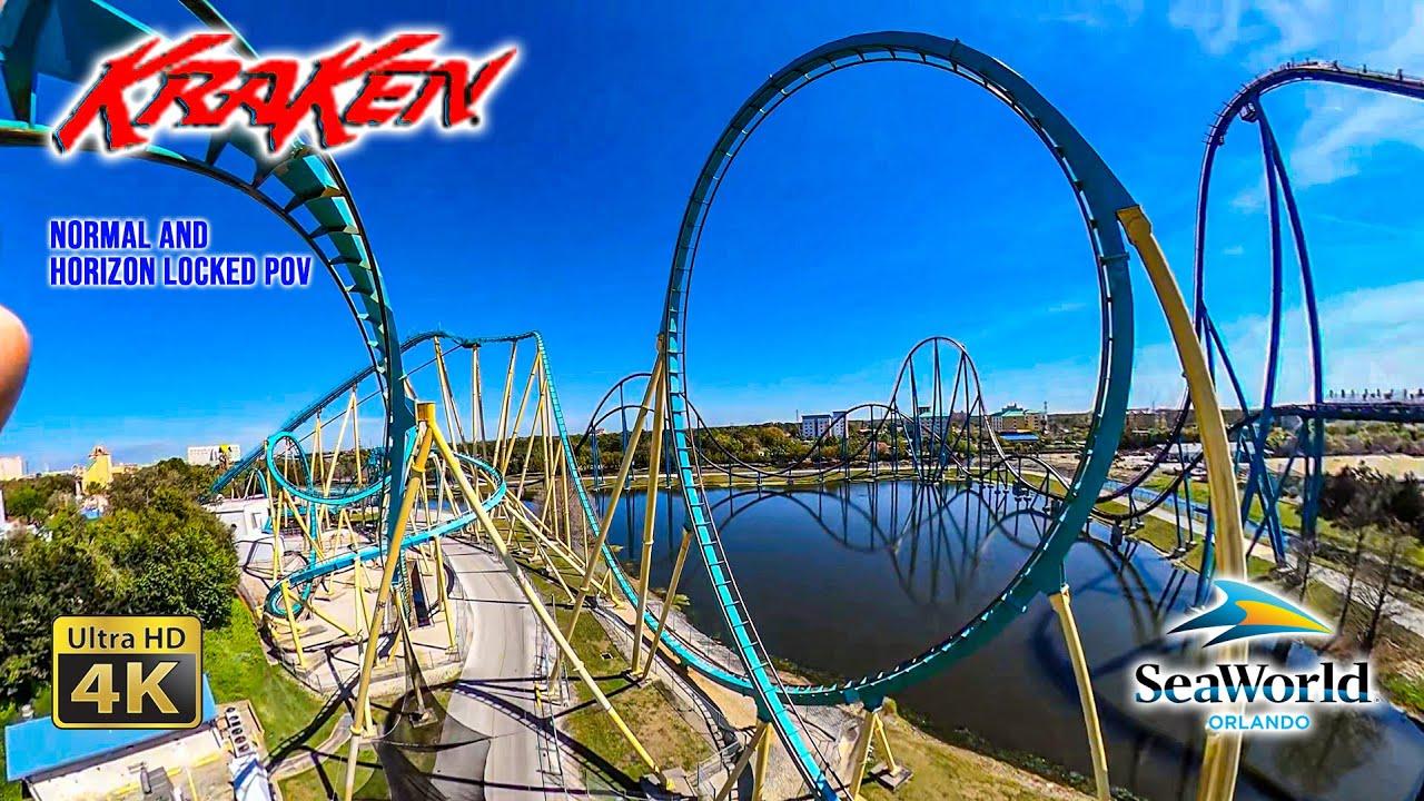 Download Kraken Roller Coaster OnRide Front Seat Normal and Horizon Locked 4K POV SeaWorld Orlando 2021 03 05