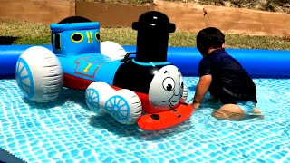 Giant Thomas and Friends Toy Train, Disney Cars Toys McQueen in the Swimming Pool