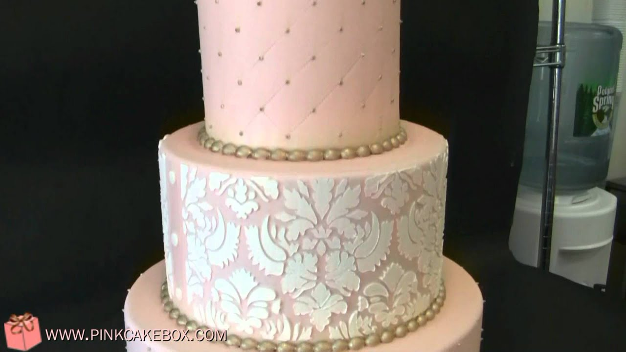Pink Damask Wedding Cake - YouTube