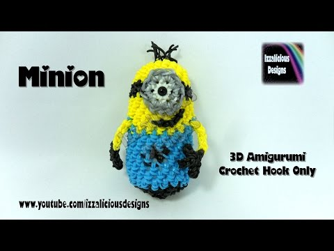 Loomigurumi 3D Minion Doll | Charm made with Rainbow Loom Rubber Bands - Crochet Hook Only