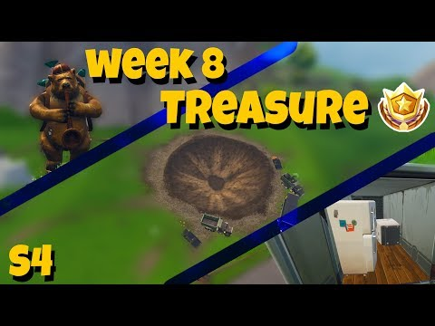 """""""Search between a Bear, Crater and a Refrigerator Shipment"""" Fortnite Week 8 Treasure Map"""