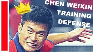 TRAINING With Chen WEIXIN (defense) and PRIMORAC Zoran @ Legends Tour 2018 Table Tennis