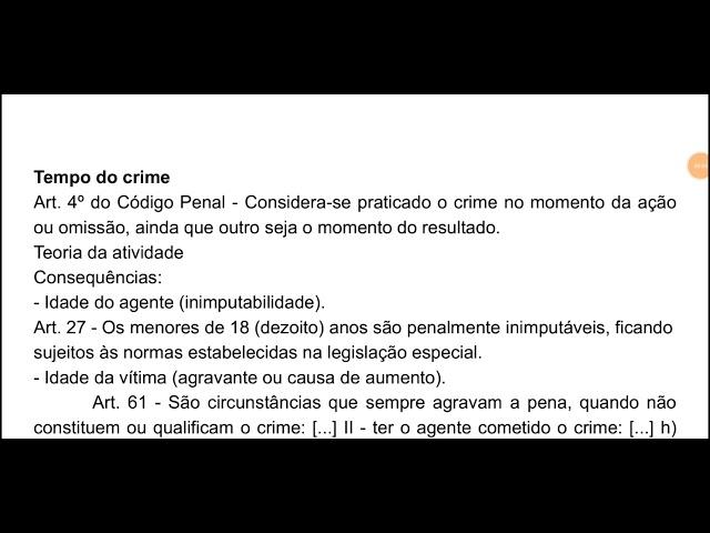 Direito Penal: tempo do crime (art. 4° do Código Penal)