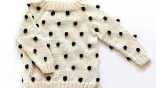 Woolen bubbles on sweater/Knitting in hindi/Sweater for babies:Design-96