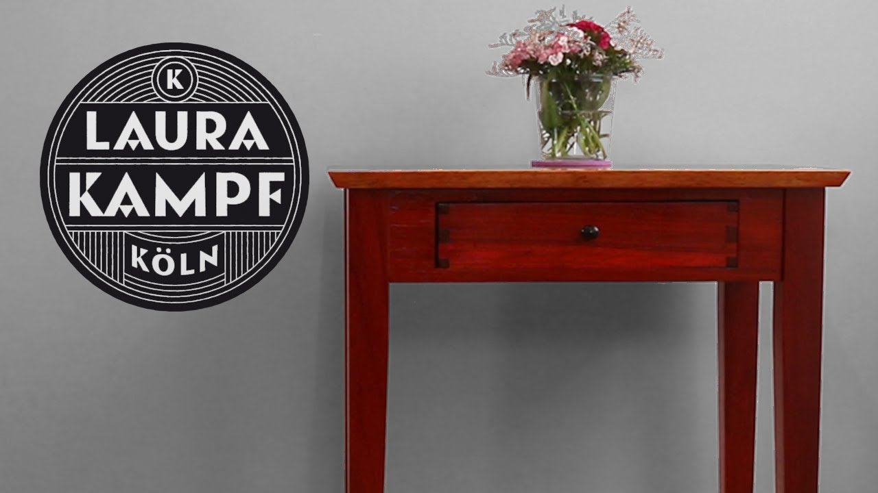 Padauk Side Table With Dovetail Drawer Laura Kampf