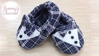 DIY - Sewing Gentle Shoes For Baby Boys Tutorial | Hướng dẫn may giầy lịch lãm cho bé trai.