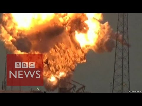 The moment a SpaceX rocket explodes at Cape Canaveral  - BBC News