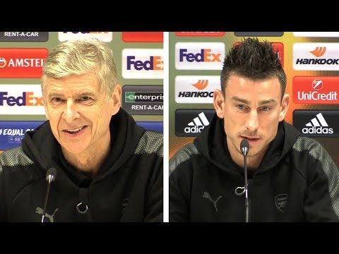 Arsene Wenger & Laurent Koscielny Pre-Match Press Conference - AC Milan v Arsenal - Europa League