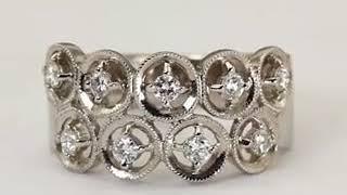 Art Deco Ring Diamond Wedding Band With Bezel Set Diamonds In 18K White Gold