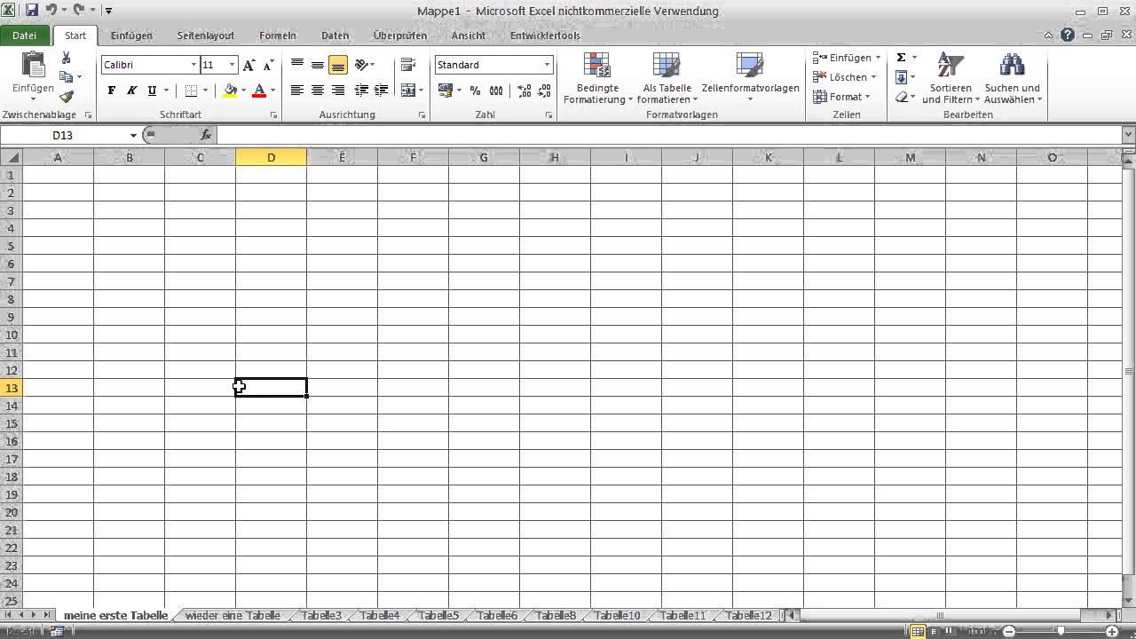 Microsoft excel grundlagen lernen 0 aufbau tabellen for Tabelle mit 9 spalten
